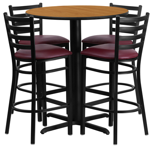 36Round_Natural_table_4_LadderBack_BarStools_BurgVinyl.jpg  sc 1 st  USA Barstools & Commercial Bar Stools for Nightclubs Restaurants u0026 Offices u2013 USA ... islam-shia.org