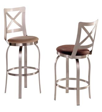 Stainless Steel Bar Stool w Flat Cris-Cross Backrest